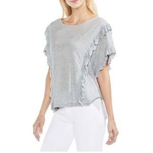 NWOTs VINCE CAMUTO Ruffle Front Grey Top!